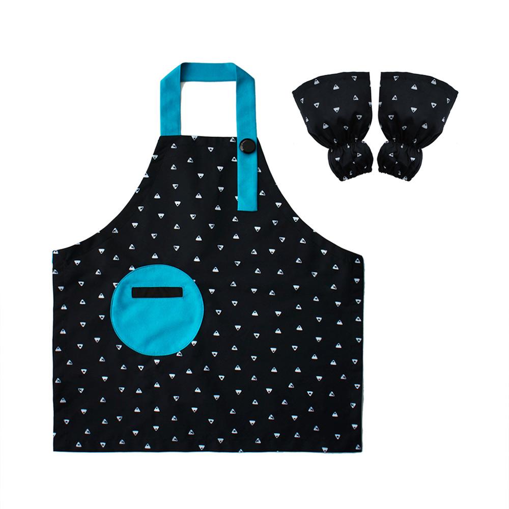 OGG|幾何趣拼色寶寶工作圍裙袖套組(排排山丘)