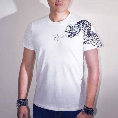 buyMood 白目叮|3D刺青龍T恤(白色)