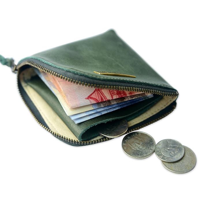 C′est Si Bon 進口真皮L型拉鍊零錢包/鈔票短夾-抹綠色