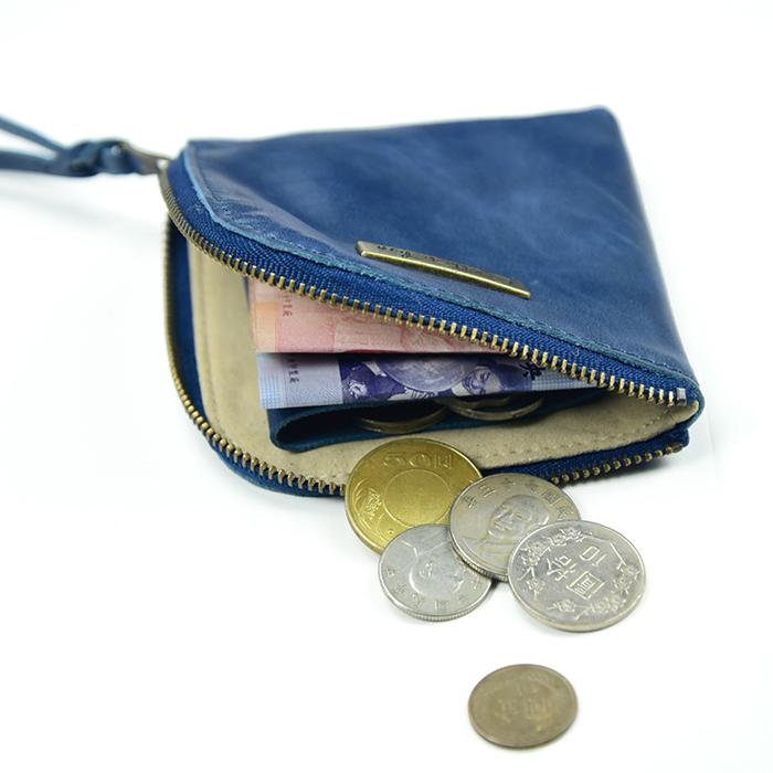 (複製)C′est Si Bon 進口真皮L型拉鍊零錢包/鈔票短夾-抹綠色