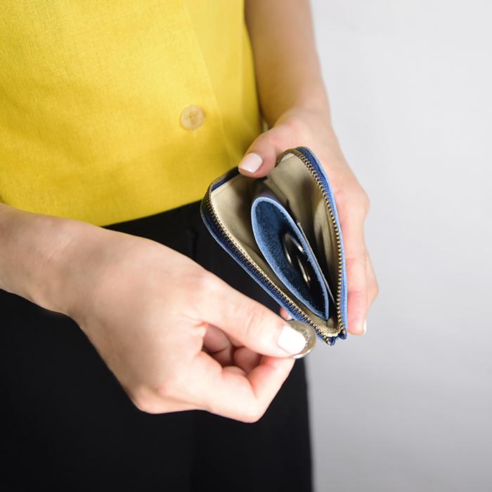 C′est Si Bon|進口真皮L型拉鍊零錢包/鈔票短夾-懷舊藍