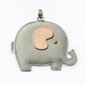 C'est Si Bon|洗舊皮革紙鑰匙圈零錢包-動物狂想曲(粉嫩灰小象)