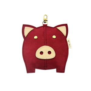 C'est Si Bon|洗舊皮革紙鑰匙圈零錢包-動物狂想曲(勃根地小紅豬)