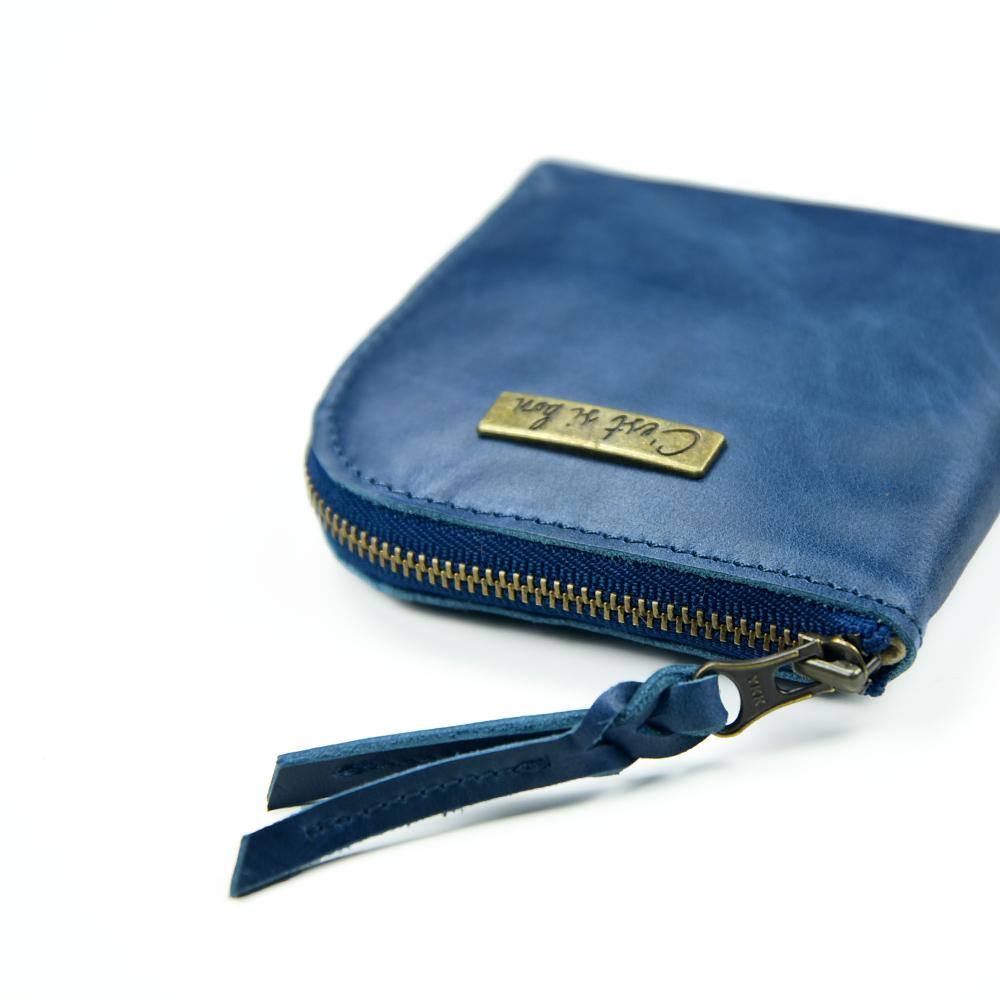 C′est Si Bon 進口真皮L型拉鍊零錢包/鈔票短夾-懷舊藍