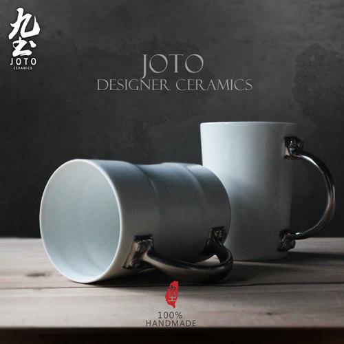 九土 台灣文創個性門把多功能陶瓷杯 黑色曲線單杯