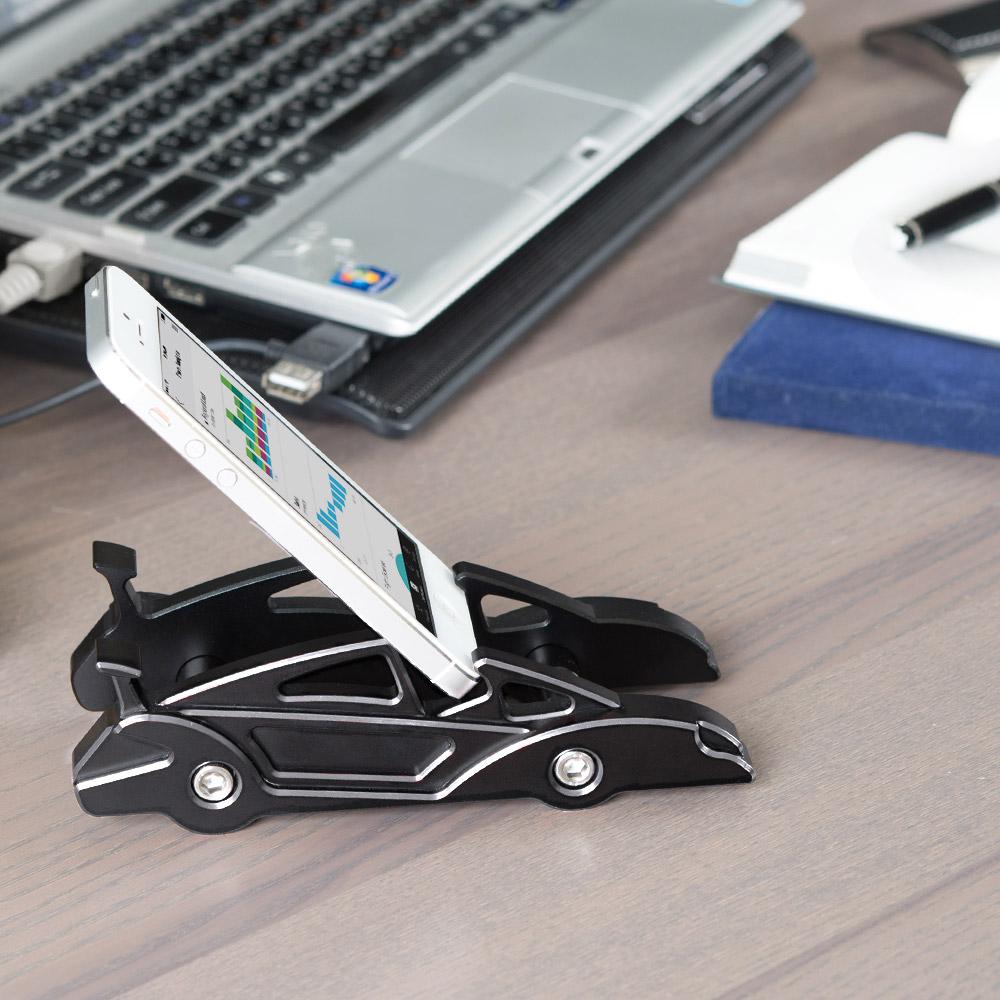 KiWAV|航太鋁合金多功能手機平板架-跑車款(髮絲銀)