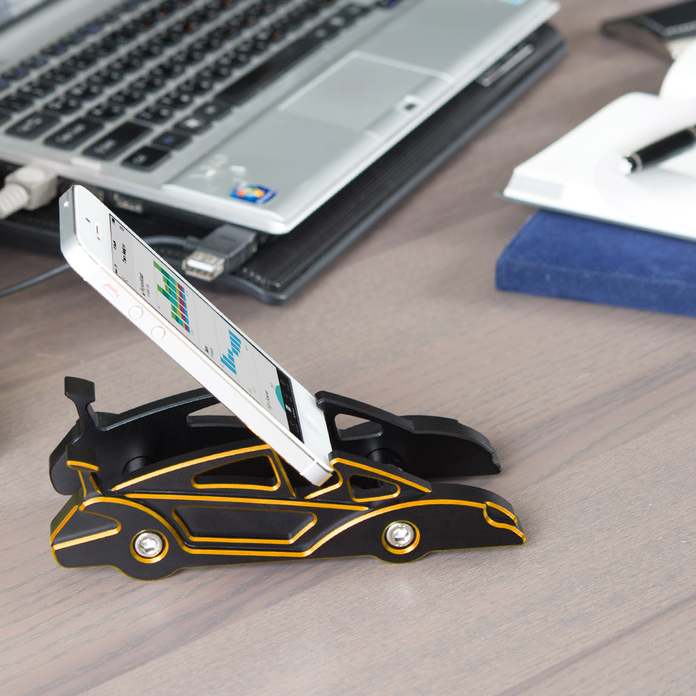 KiWAV 航太鋁合金多功能手機平板架-跑車款(典金黃)