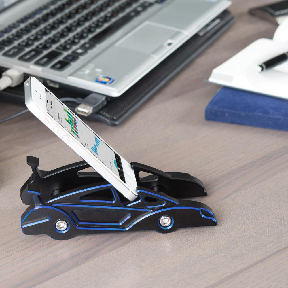 KiWAV|航太鋁合金多功能手機平板架-跑車款(優雅藍)