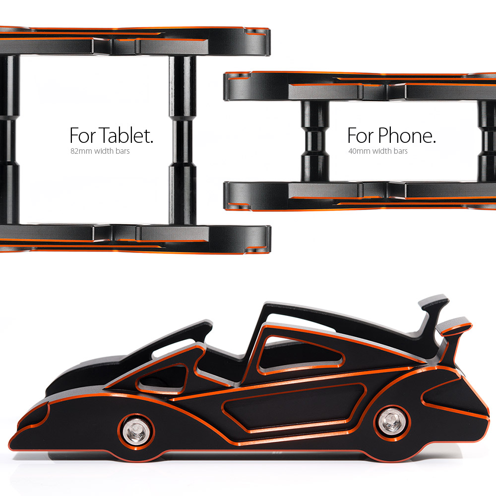 KiWAV|航太鋁合金多功能手機平板架-跑車款(跳躍橘)