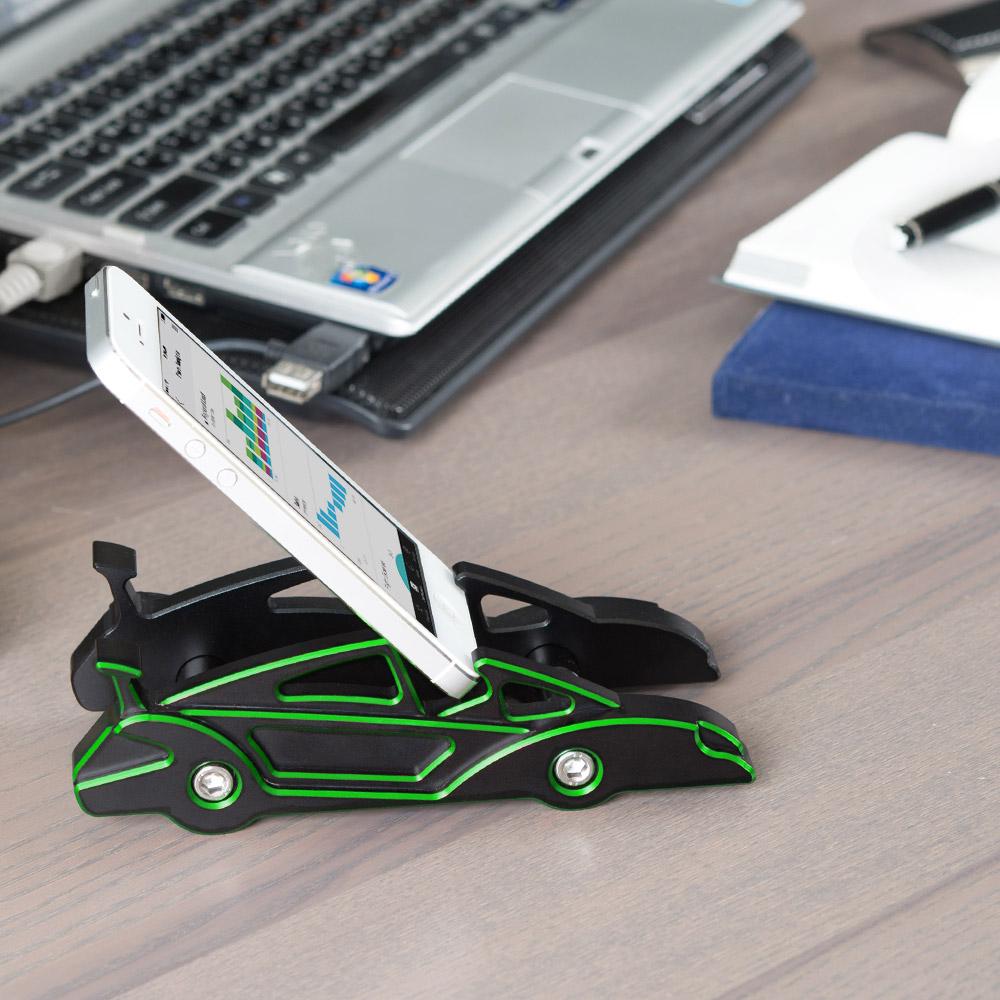 KiWAV 航太鋁合金多功能手機平板架-跑車款(川崎綠)