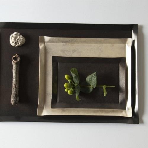 折井 Orii tone四方銅彩盤-珍珠銀(S)
