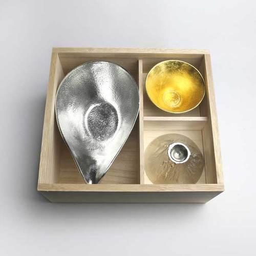 能作 富士山禮盒(純錫片口盅-L・純錫富士山造型杯・金箔富士山造型杯)
