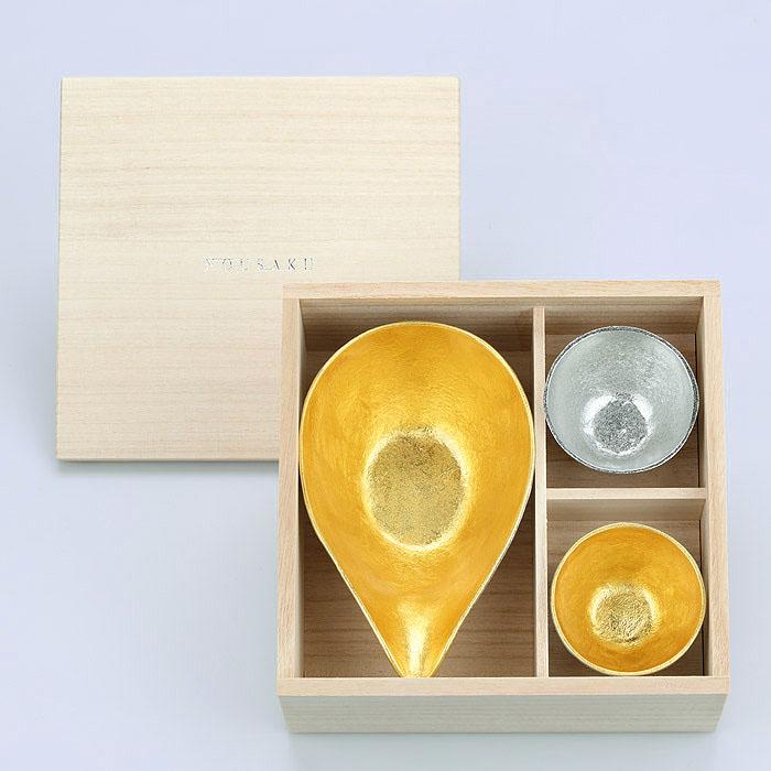 (複製)能作|富士山禮盒(純錫片口盅-Lx1・金箔富士山造型杯x2)