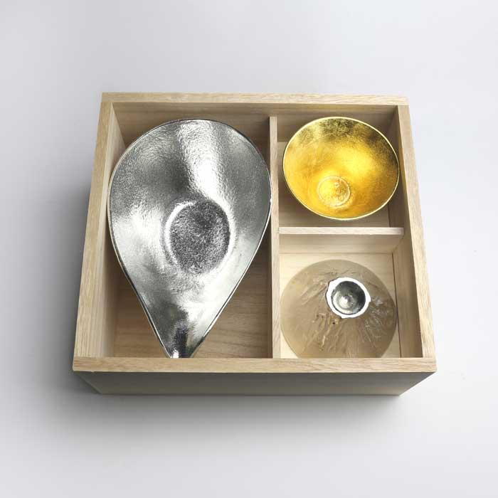 (複製)能作 純錫金箔片口盅(L)+純錫/純錫金箔酒杯組