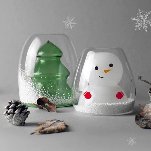 紅琉璃|聖誕雙層杯兩入(聖誕樹+雪人)
