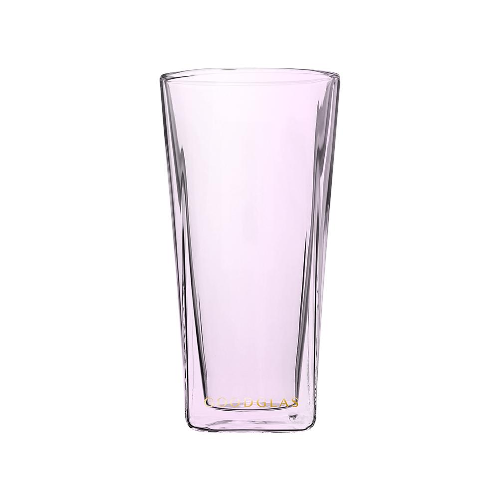 好玻 GOODGLAS|SQUARE雙層杯 櫻粉