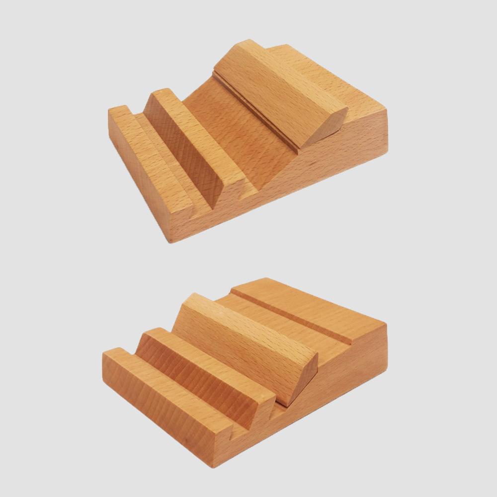 dStand 雙槽多功能桌上型手機/平板座-櫸實木
