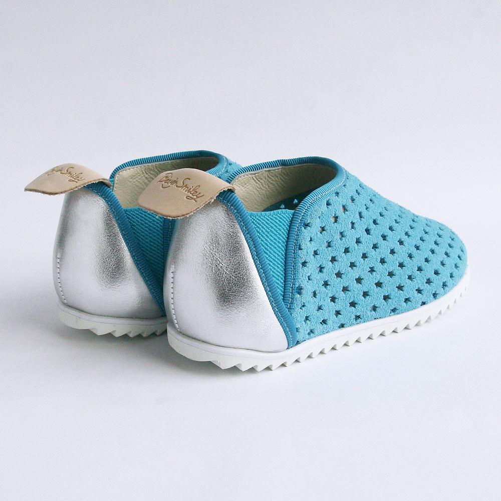 Beven Smiley V系列全真皮兒童休閒鞋-洞洞款(輕鬆藍)
