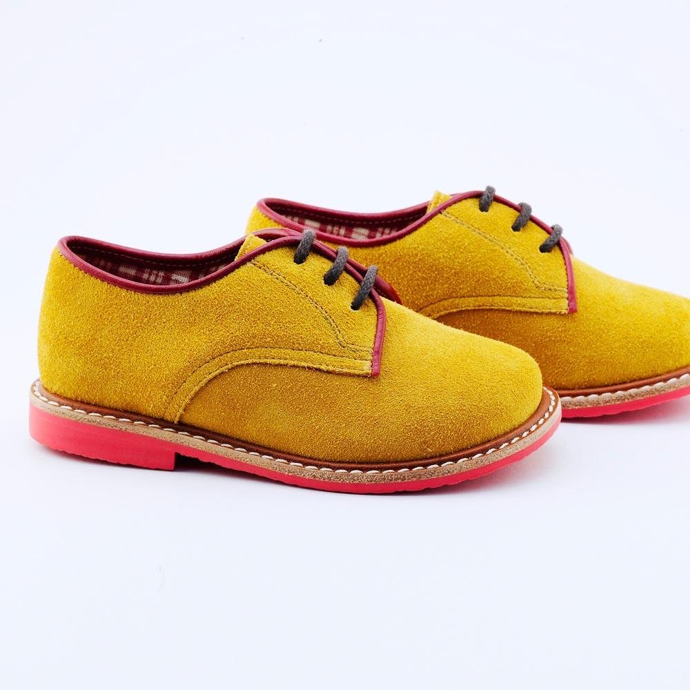Beven Smiley|MIT全真皮兒童德比鞋-紳士款(黃色)