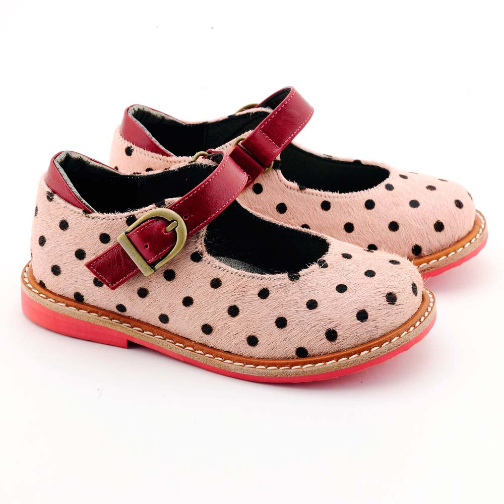 Beven Smiley|MIT全真皮兒童瑪麗珍娃娃鞋-馬毛款(粉色)