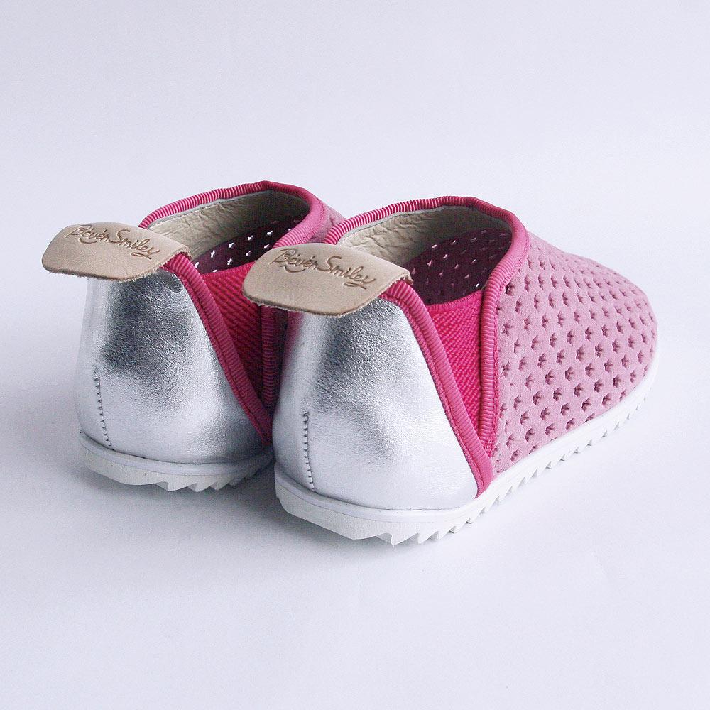 Beven Smiley|V系列全真皮兒童休閒鞋-洞洞款(柔美粉)