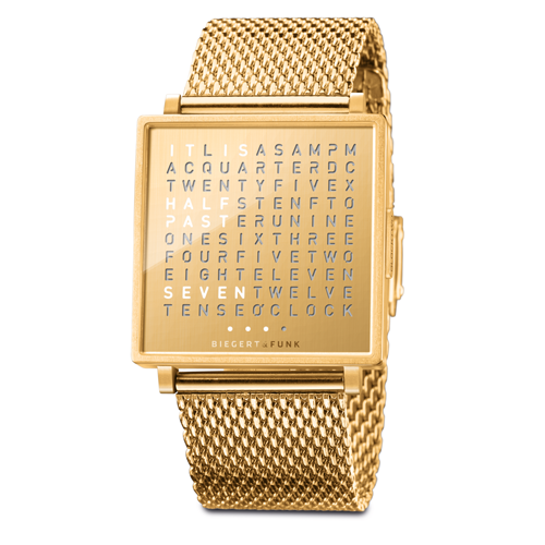 QLOCKTWO Golden Words 潮流金鍊帶腕錶