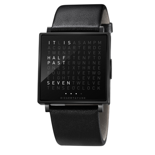 QLOCKTWO|冷冽黑DLC精鋼腕錶
