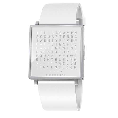 QLOCKTWO 精靈白精鋼腕錶(亮面)
