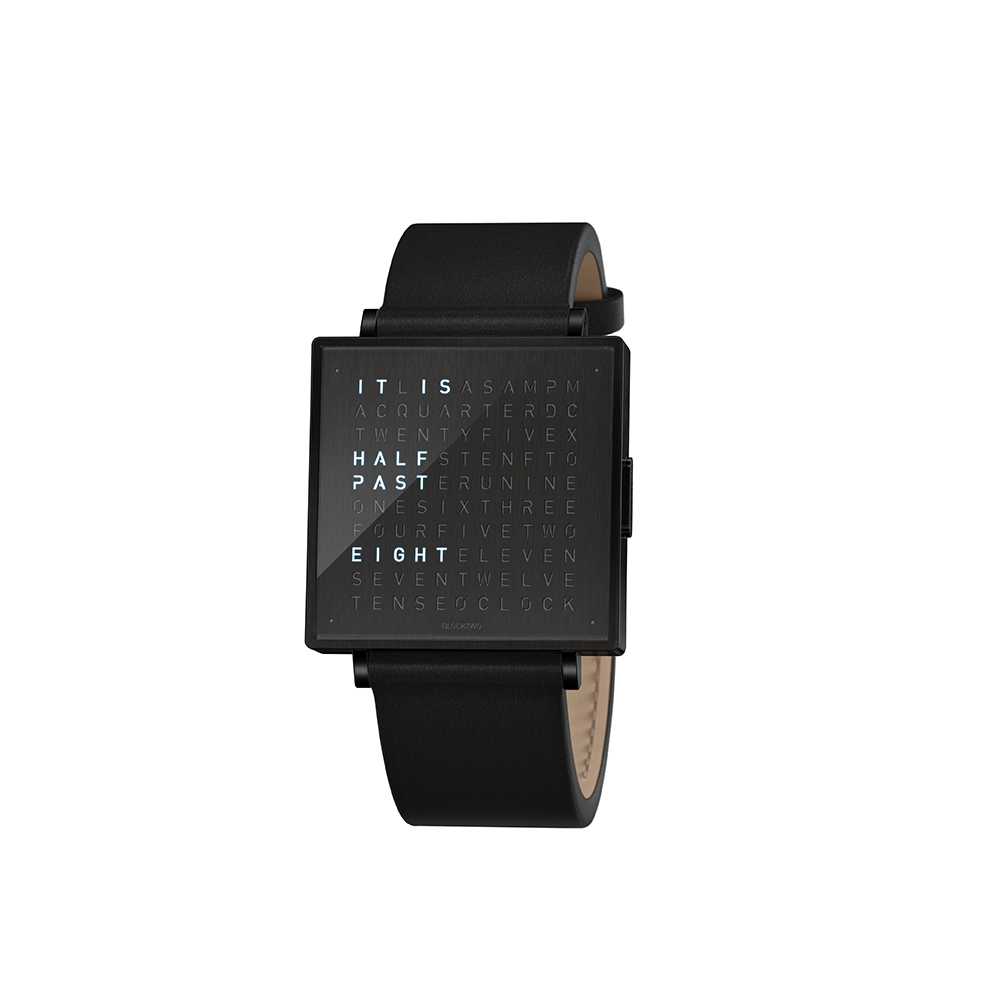 Qlocktwo | Watch W39 Black Steel, Black DLC finish, 霧面黑色精鋼腕錶-黑色牛皮錶帶
