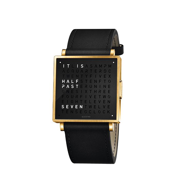 (複製)QLOCKTWO W35 Pure Black Rosegold PVD 黑色霧面玫瑰金精鋼腕錶_黑色牛皮錶帶