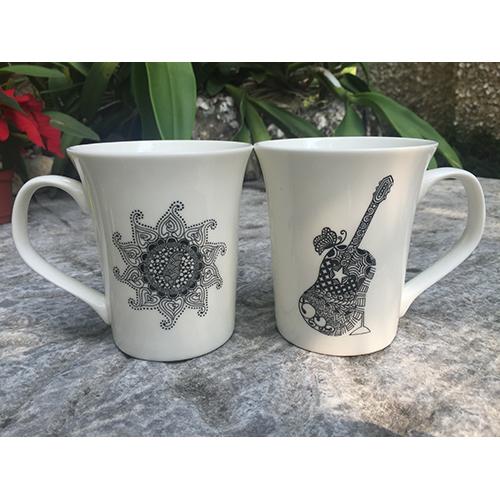 星願Star Wish|禪繞畫陶瓷杯-太陽與吉他杯(白色)
