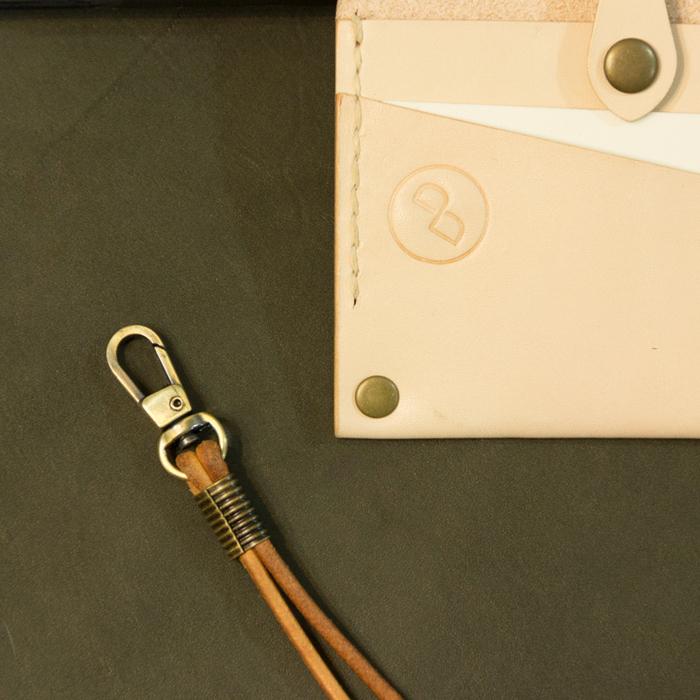 DUAL|真皮手縫簡約證件套(酒紅)