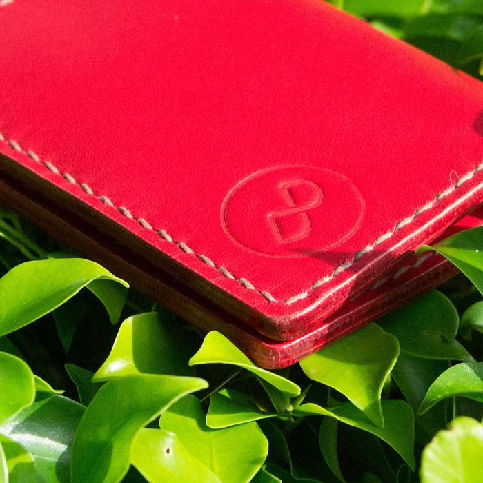(複製)DUAL 頭層牛皮手工縫製經典卡片夾 (氣質紅)