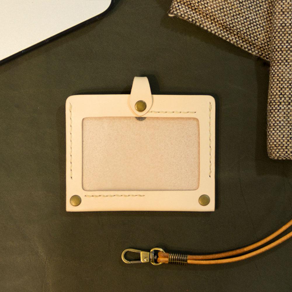 DUAL|真皮手縫簡約證件套(原色植鞣)