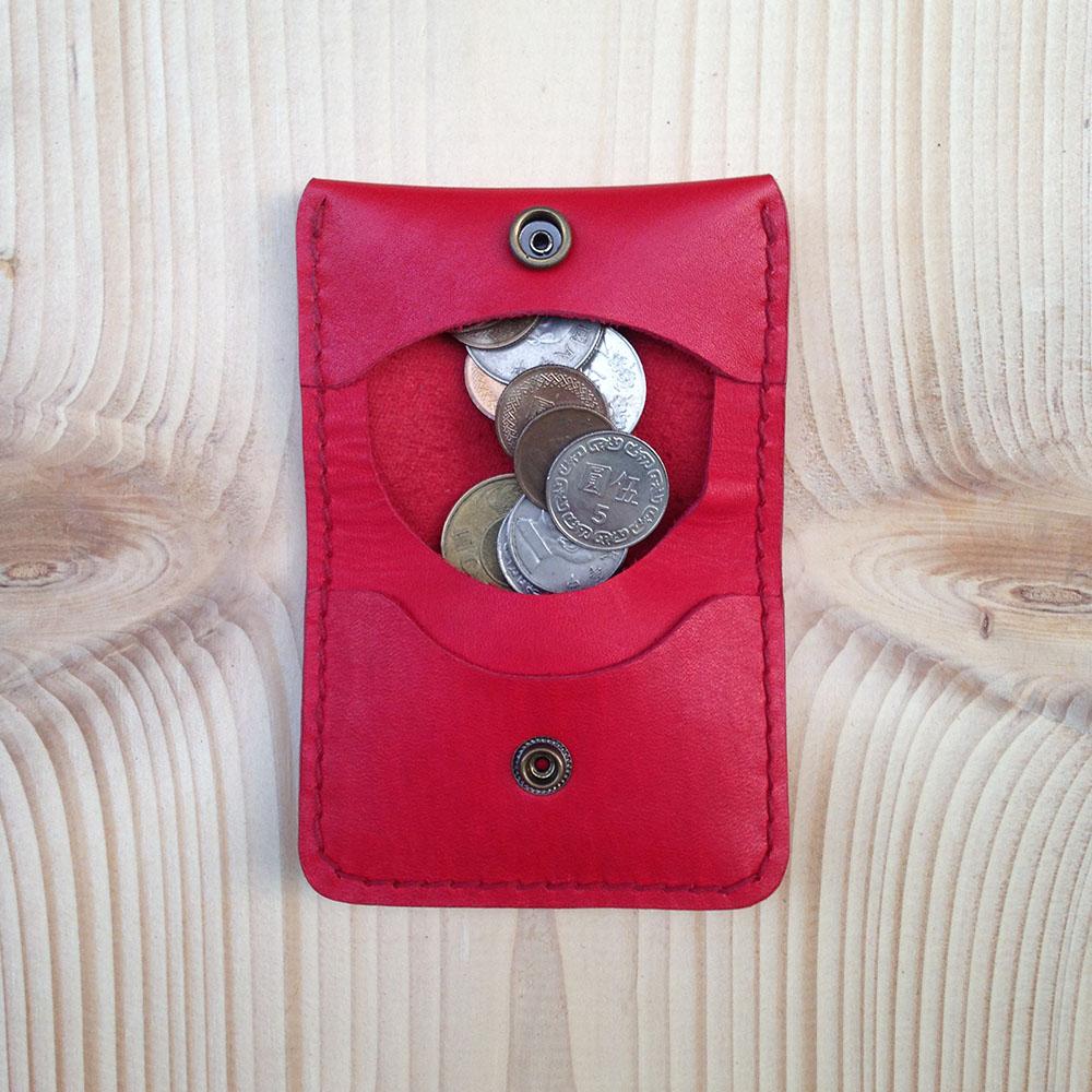 DUAL|皮革小巧零錢包(氣質紅)