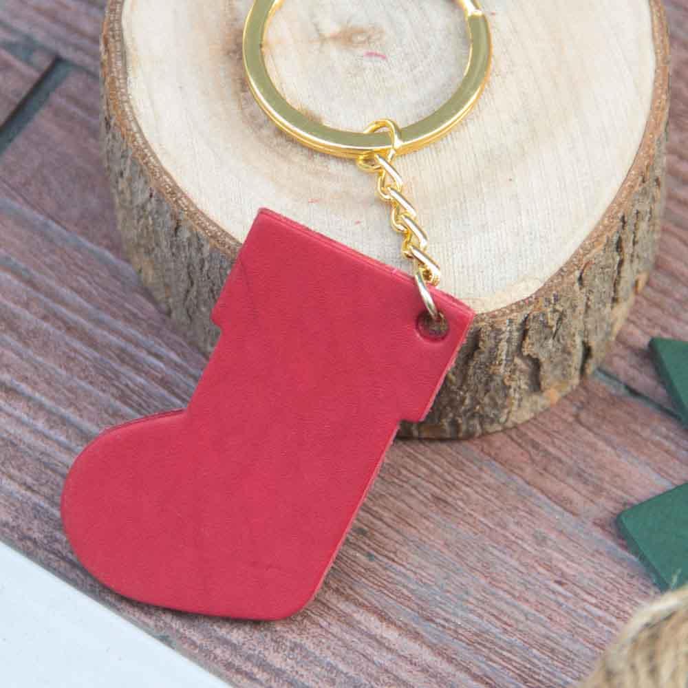 DUAL 聖誕節皮革可愛紅襪子