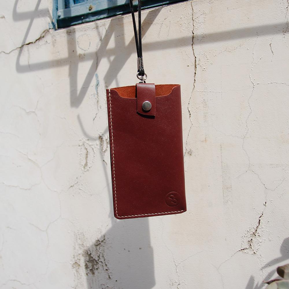 DUAL|手縫皮革弧線卡層手機套(磚紅)  i7 i7+