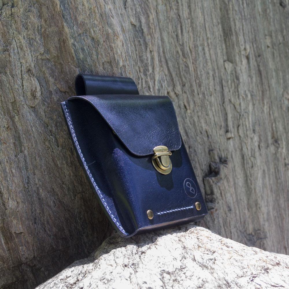 DUAL|真皮手縫腰包/臀包(深藍)