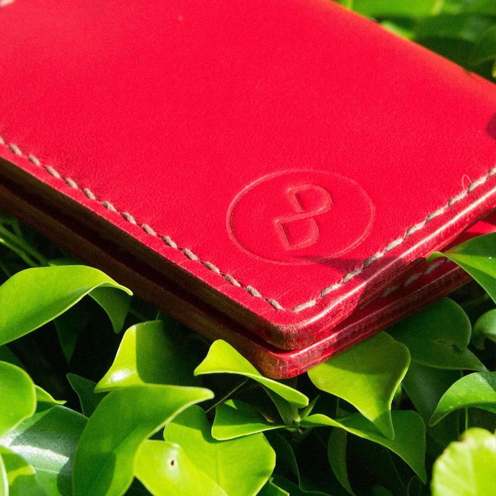 DUAL 頭層牛皮手工縫製經典卡片夾 (氣質紅)
