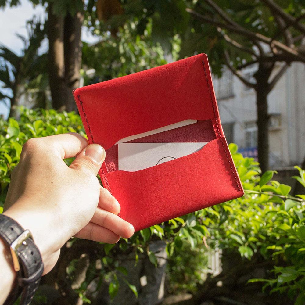 DUAL|頭層牛皮簡約卡片夾 (桃紅)