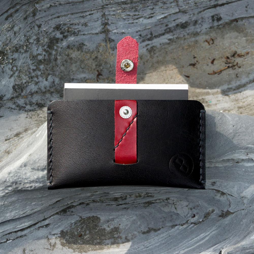 DUAL 頭層牛皮拉帶大容量卡片夾 (黑)