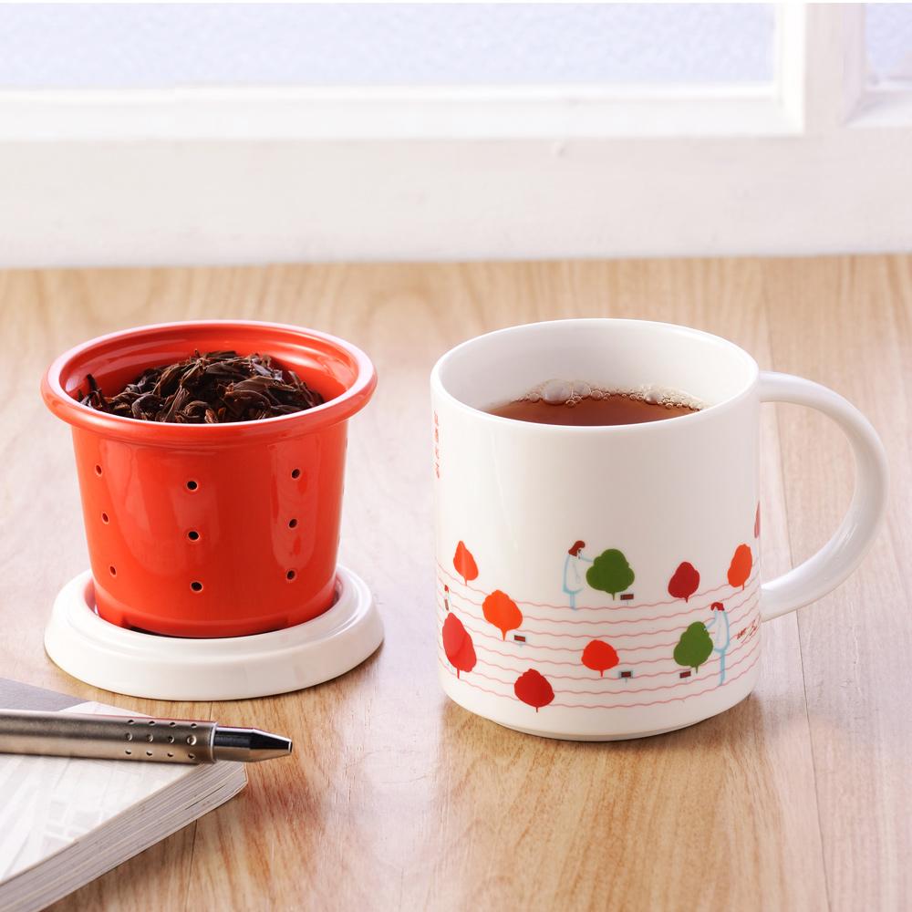 不二堂|T-MUG 迎香紅茶馬克杯 (白瓷紅)