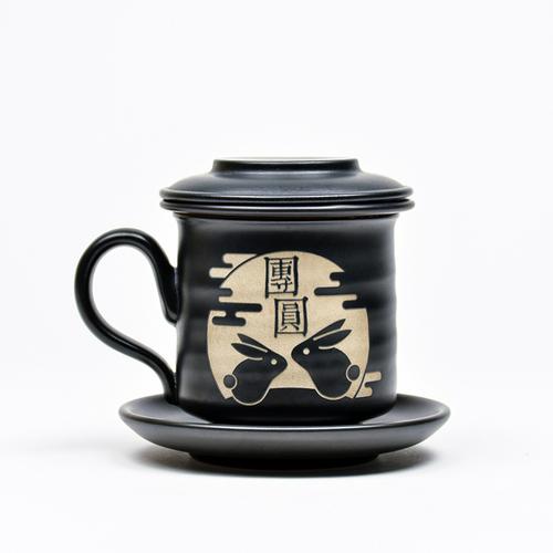陶作坊│中秋節限定款同心杯-特製釉上雷刻 (A款)