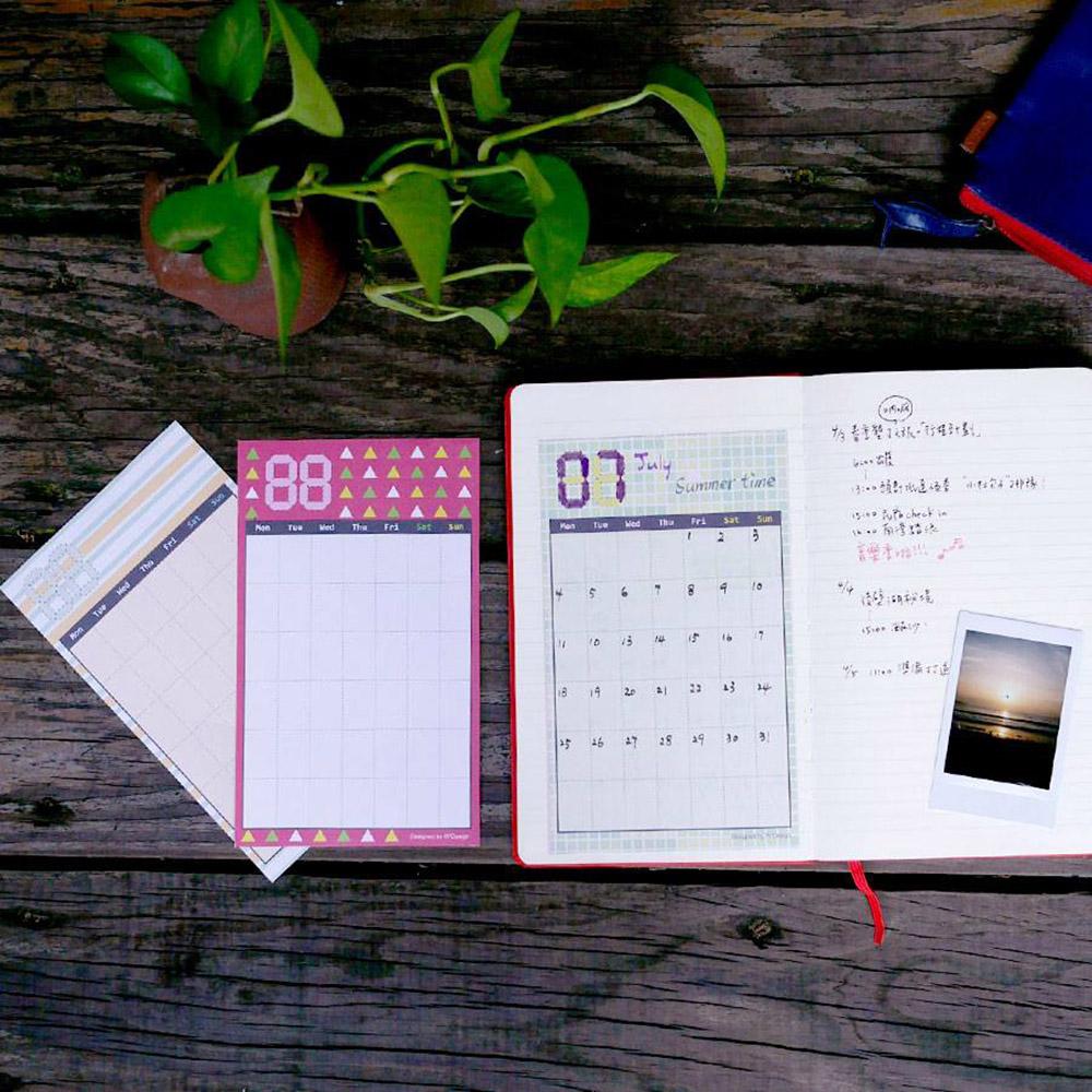 W2Design|花漾時紛DIY手帳月曆貼x12枚入 (二組)