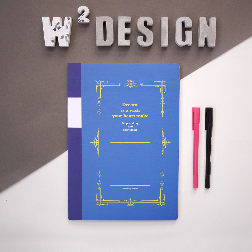 W2Design|思考手札-方眼筆記本A4 (藍 / 二入)
