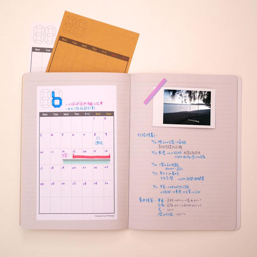 W2Design|日常時光DIY手帳月曆貼x12枚入 (二組)