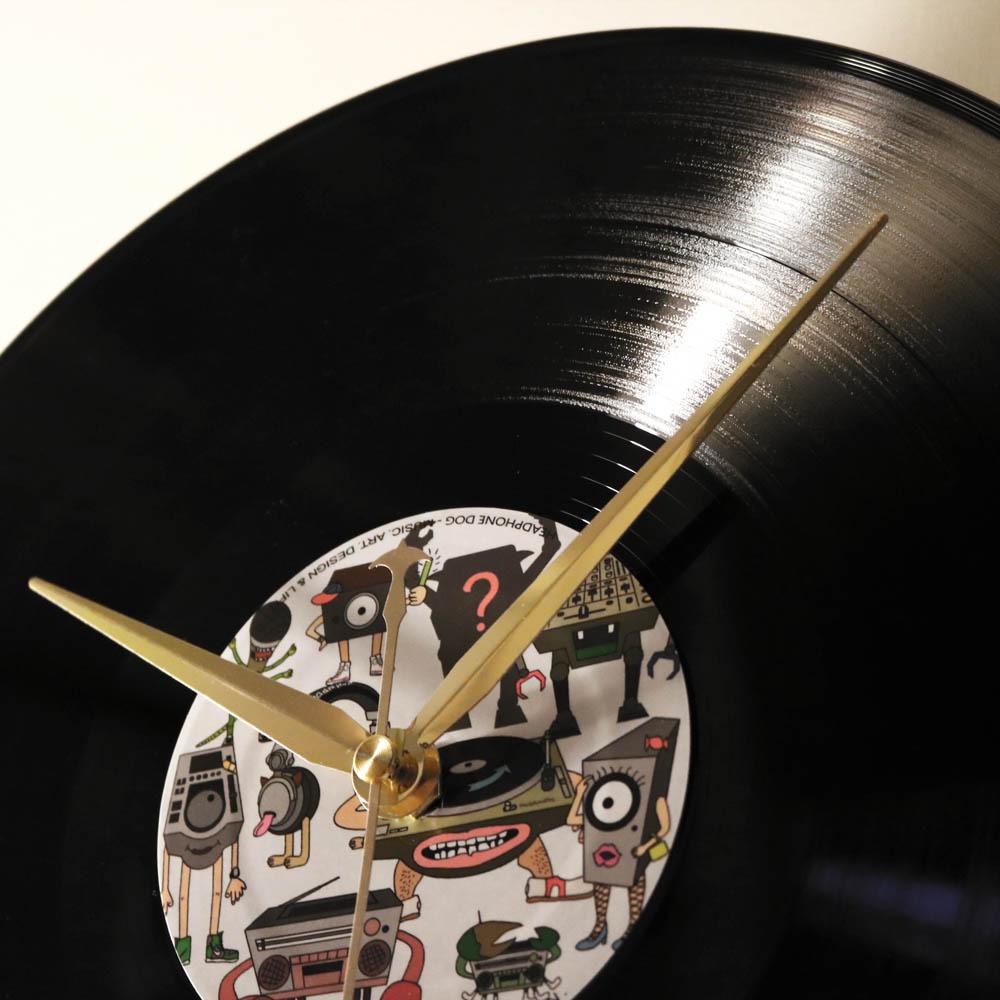 HeadphoneDog 手工黑膠唱片時鐘-耳機狗插畫經典款