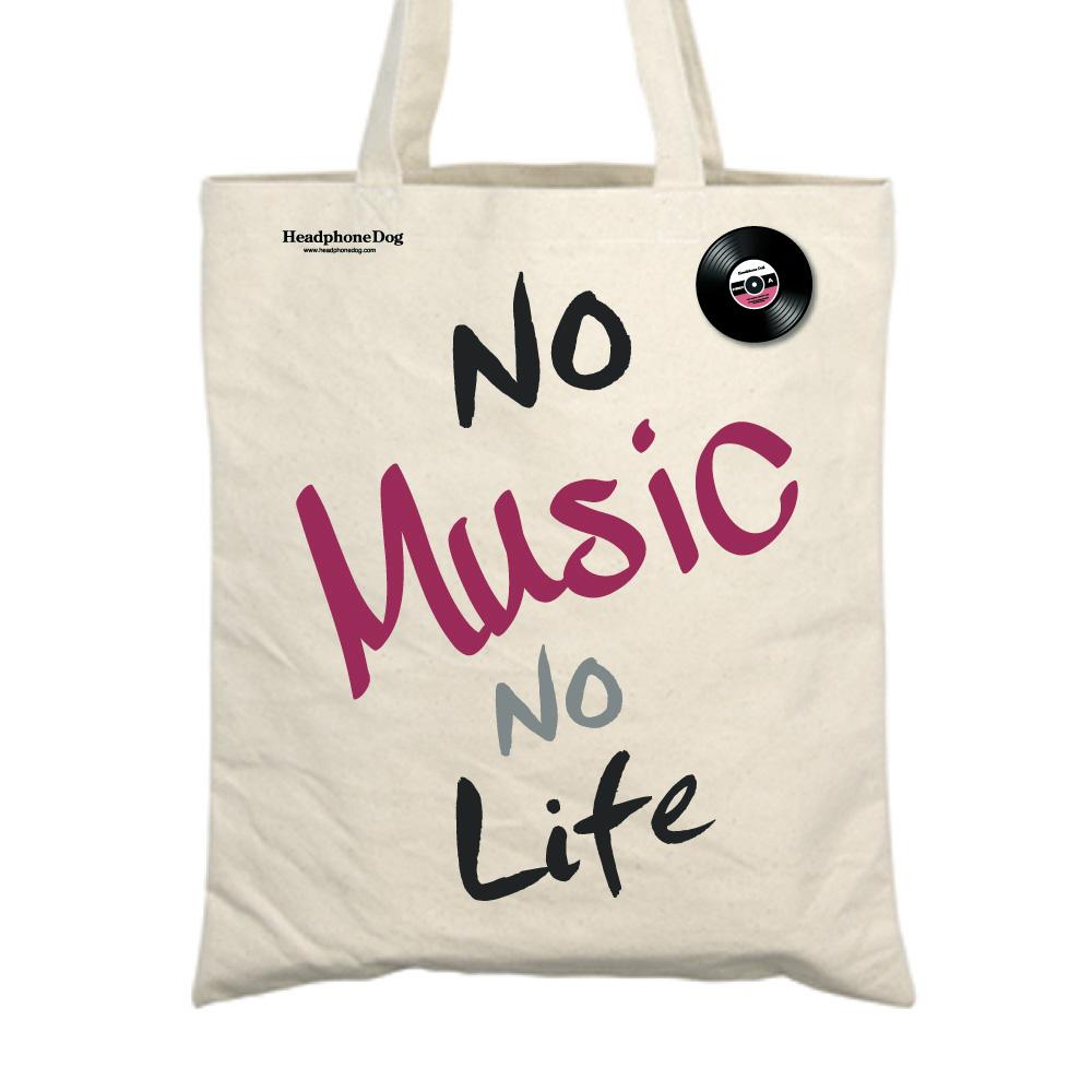 HeadphoneDog|經典No Music No Life 購物袋(附金屬黑膠徽章)