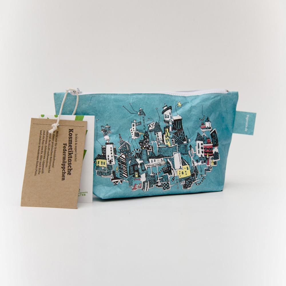 paprcuts 塗鴉風-化妝包(土耳其藍)