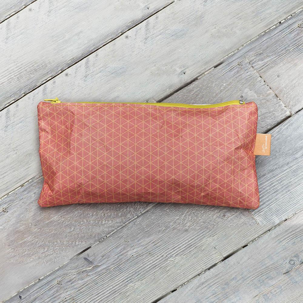 paprcuts 幾何風-筆袋(小格線橘紅)
